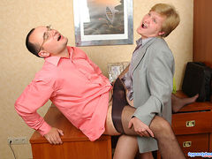 Sex-starved co-workers in control top pantyhose having fun at a cock break